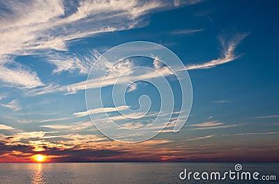An Evening Sunset Over Water