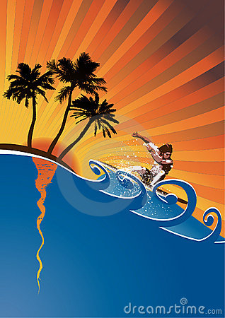 evening surfer vector