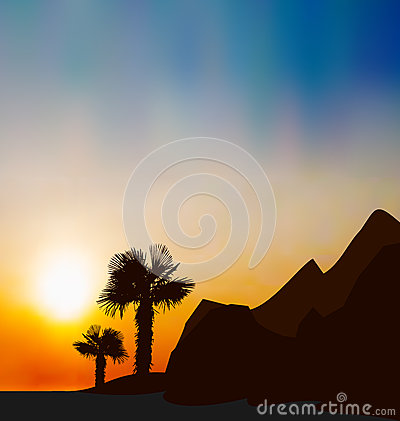 Evening tropical landscape with sea, mountain, pal