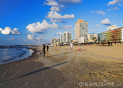 Evening view on the beach of Tel Aviv Editorial Stock Photo