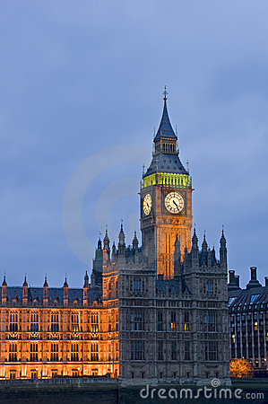 Evening view of Big Ben London