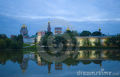 Evening view of  Donskoy Monastery, Moscow.