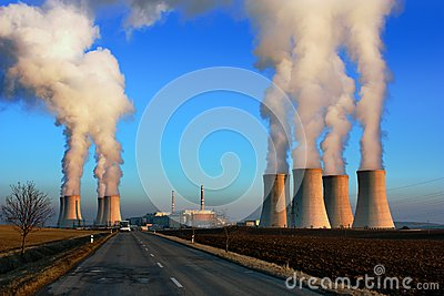 Evening view of nuclear power plant Dukovan