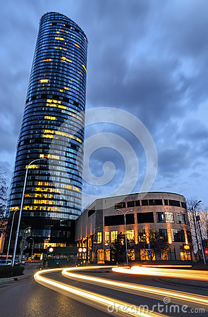 Free Evening View Of Sky Tower Office Building With Light Auto Trails Royalty Free Stock Photos - 69583378