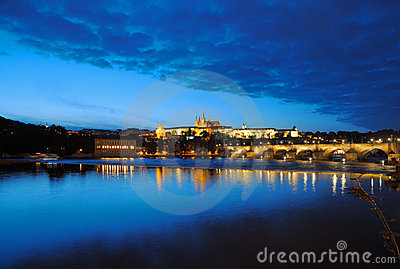 Evening view of Prague castle and Charles Bridge