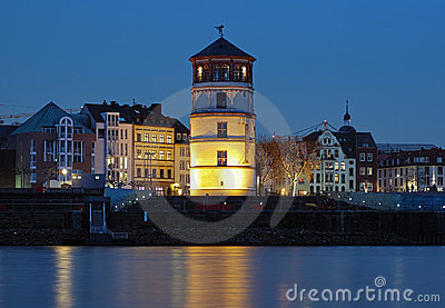Evening view of Schlossturm in Dusseldorf, Germany Editorial Photography