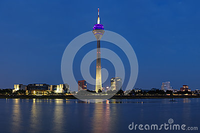 Evening view on the TV tower in Dusseldorf