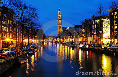 Evening view on the Western church in Amsterdam Editorial Image