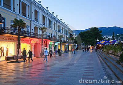 Evening Yalta City (Crimea, Ukraine) Editorial Photography
