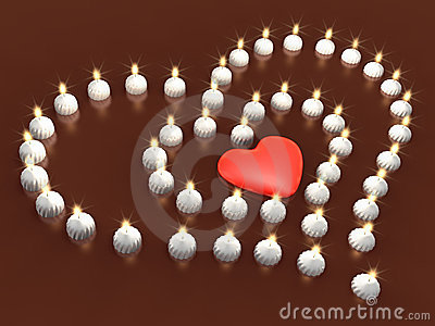 Event 3d candle array as heart