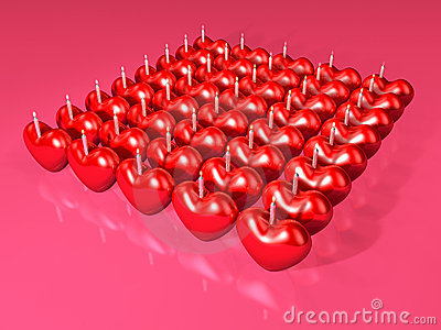 Event 3d red heart candle array