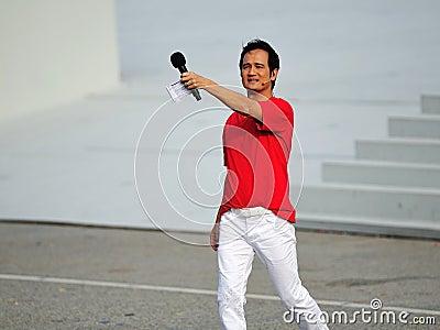 Event host Gurmit Singh at NDP 2012 Editorial Stock Image