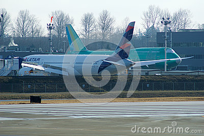 EVERETT, WASHINGTON, USA - JAN 26th, 2017: Boeing production site, the huge factory at Snohomish County Airport or Paine Editorial Photography