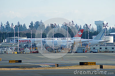 EVERETT, WASHINGTON, USA - JAN 26th, 2017: Boeing production site, the huge factory at Snohomish County Airport or Paine Editorial Image