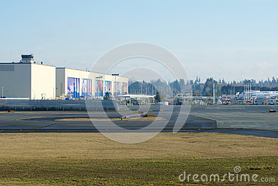 EVERETT, WASHINGTON, USA - JAN 26th, 2017: Boeing`s New Livery Displayed on Hangar Doors of Everett Boeing Assembly Editorial Photography