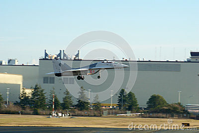 EVERETT, WASHINGTON, USA - JAN 26th, 2017: A MiG-29UB during a low pass athe Boeing factory site at Snohomish County Editorial Image
