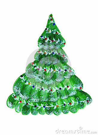 Evergreen Christmas Tree Watercolor