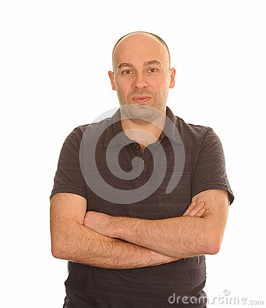Man with Arms Folded on White