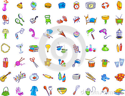 Everyday objects icons stock photos image 27372993 for Minimalist household items