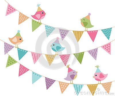 Everyone`s Invited Cute Party Birds and Bunting Vector Illustration