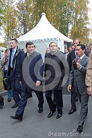 Evgeny Kuyvashev, Dmitry Medvedev and Oleg Sienko Editorial Stock Photo