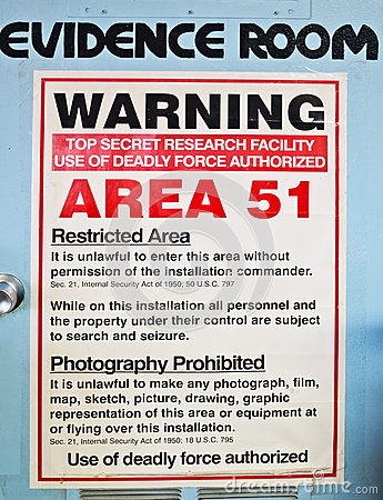Free Evidence Room, Area 51 Royalty Free Stock Image - 50664866