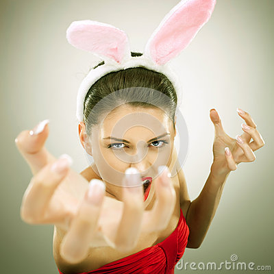 Evil bunny woman screaming
