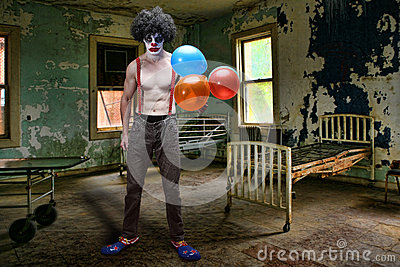 Evil Clown Inside Condemned Room With Hospital Bed Royalty