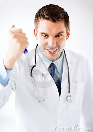 Evil doctor holding syringe with injection