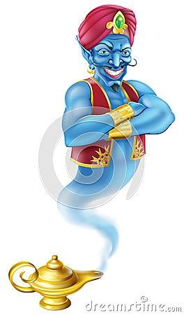 Evil genie and magic oil lamp