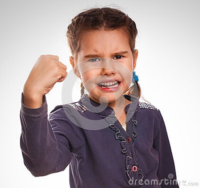 Free Evil Girl Shows Fists Experiencing Anger And Royalty Free Stock Photo - 38339505