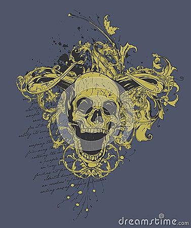 Evil horned skull design