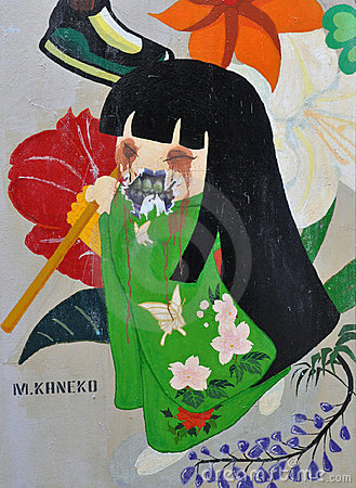 Evil Japanese Girl Graffiti Editorial Stock Photo