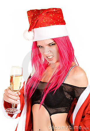 Evil mrs. Santa with champagne glass