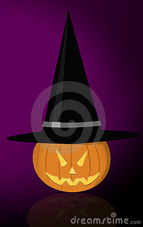 Evil pumpkin with witch hat