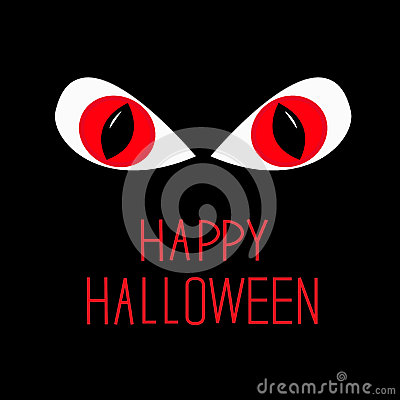 Evil Red eyes in dark night. Happy Halloween card.