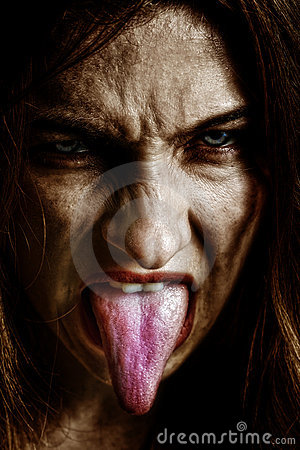 Free Evil Scary Sinister Woman With Tongue Out Royalty Free Stock Image - 11030656