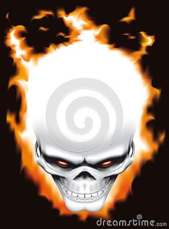 Evil skull on fire