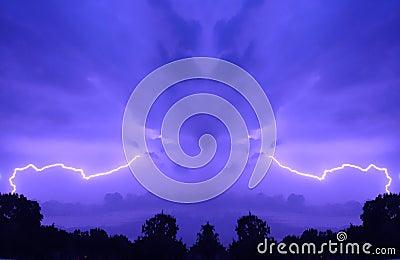 Purple sky with lightning