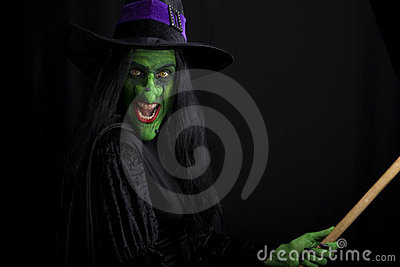 Evil witch on a broomstick