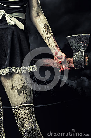 Free Evil Woman Holding A Bloody Ax Stock Photos - 45385663