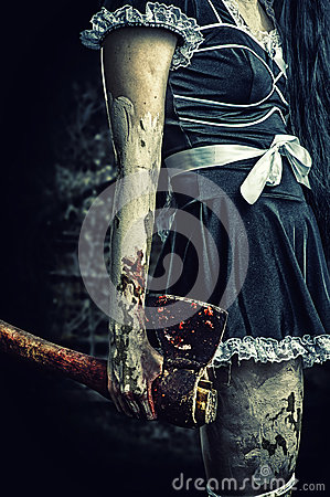 Free Evil Woman Holding A Bloody Ax Stock Images - 45676084