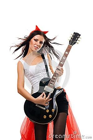 Evil Woman Rock Star Guitarist Stock Photography Image