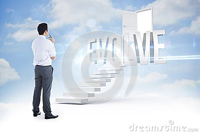 Evolve against steps leading to open door in the sky