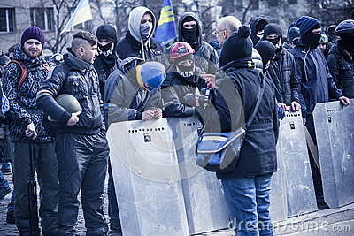 Evromaydan self-defense in Ukraine Editorial Stock Image