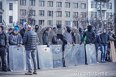 Evromaydan self-defense in Ukraine Editorial Stock Photo