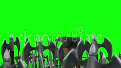 Exército dos guerreiros que acenam acima de suas armas com machados e espadas em um fundo de tela verde filme