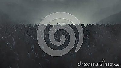 Exército saxão marchando para frente com milhares de soldados de pés vídeos de arquivo