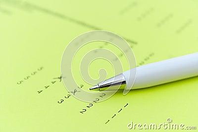 Exam or feedback form