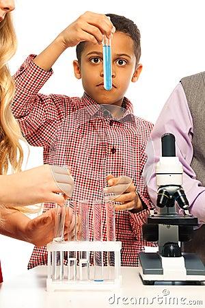 Examining test tube